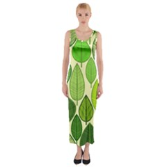 Leaves pattern design Fitted Maxi Dress