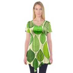 Leaves pattern design Short Sleeve Tunic