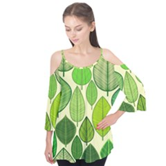 Leaves pattern design Flutter Tees