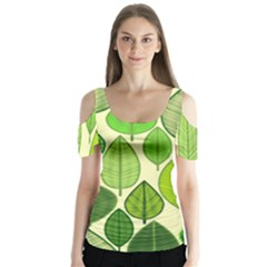 Leaves pattern design Butterfly Sleeve Cutout Tee