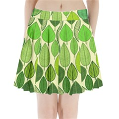 Leaves pattern design Pleated Mini Skirt