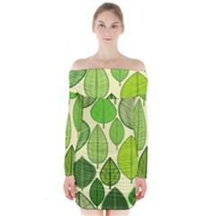 Leaves pattern design Long Sleeve Off Shoulder Dress