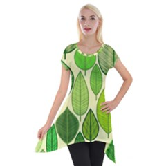 Leaves pattern design Short Sleeve Side Drop Tunic