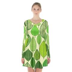 Leaves pattern design Long Sleeve Velvet V-neck Dress