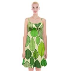 Leaves pattern design Spaghetti Strap Velvet Dress