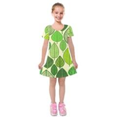 Leaves pattern design Kids  Short Sleeve Velvet Dress