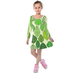 Leaves pattern design Kids  Long Sleeve Velvet Dress