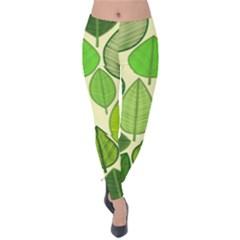 Leaves pattern design Velvet Leggings