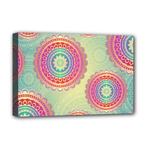 Abstract Geometric Wheels Pattern Deluxe Canvas 18  x 12