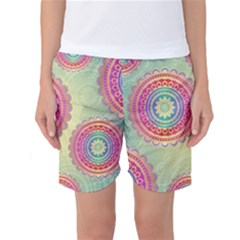 Abstract Geometric Wheels Pattern Women s Basketball Shorts