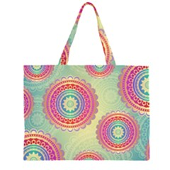 Abstract Geometric Wheels Pattern Large Tote Bag