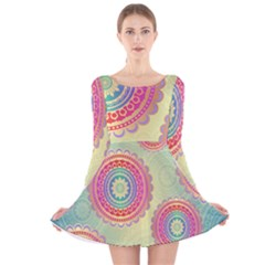 Abstract Geometric Wheels Pattern Long Sleeve Velvet Skater Dress