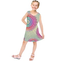 Abstract Geometric Wheels Pattern Kids  Tunic Dress