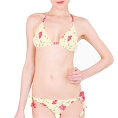 Seamless Flower Pattern Bikini Set