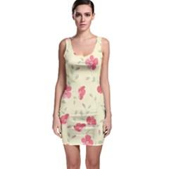 Seamless Flower Pattern Sleeveless Bodycon Dress