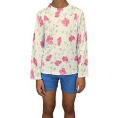 Seamless Flower Pattern Kids  Long Sleeve Swimwear