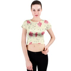 Seamless Flower Pattern Crew Neck Crop Top