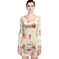 Seamless Flower Pattern Long Sleeve Bodycon Dress