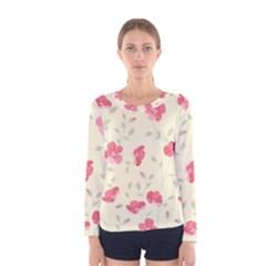 Seamless Flower Pattern Women s Long Sleeve Tee