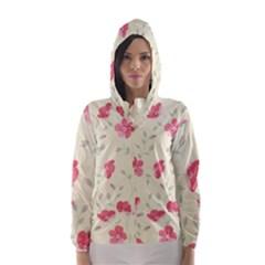 Seamless Flower Pattern Hooded Wind Breaker (Women)