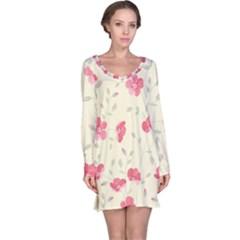 Seamless Flower Pattern Long Sleeve Nightdress