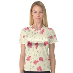 Seamless Flower Pattern Women s V-Neck Sport Mesh Tee