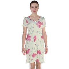 Seamless Flower Pattern Short Sleeve Nightdress