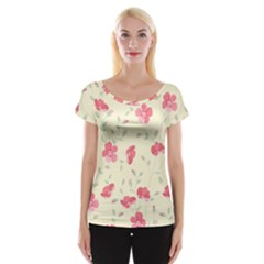 Seamless Flower Pattern Women s Cap Sleeve Top