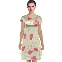 Seamless Flower Pattern Cap Sleeve Nightdress