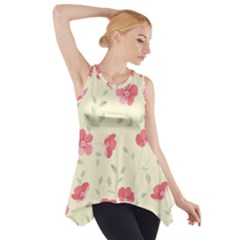 Seamless Flower Pattern Side Drop Tank Tunic