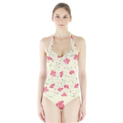 Seamless Flower Pattern Halter Swimsuit