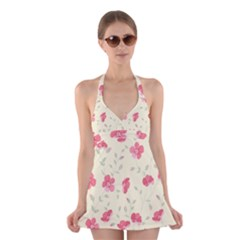 Seamless Flower Pattern Halter Swimsuit Dress
