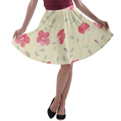 Seamless Flower Pattern A-line Skater Skirt