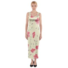 Seamless Flower Pattern Fitted Maxi Dress