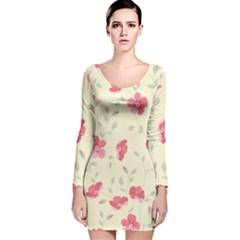 Seamless Flower Pattern Long Sleeve Velvet Bodycon Dress