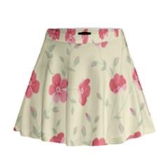 Seamless Flower Pattern Mini Flare Skirt