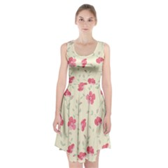 Seamless Flower Pattern Racerback Midi Dress