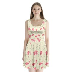 Seamless Flower Pattern Split Back Mini Dress