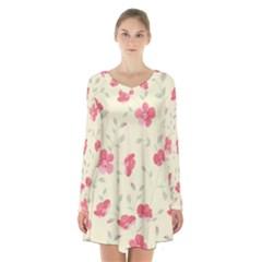 Seamless Flower Pattern Long Sleeve Velvet V-neck Dress