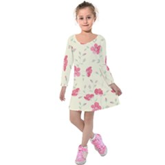 Seamless Flower Pattern Kids  Long Sleeve Velvet Dress