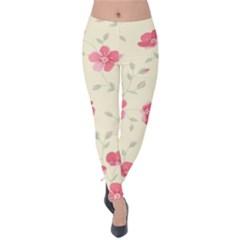 Seamless Flower Pattern Velvet Leggings