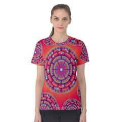 Pretty Floral Geometric Pattern Women s Cotton Tee