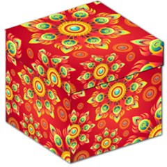 Red and Orange Floral Geometric Pattern Storage Stool 12