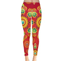 Red and Orange Floral Geometric Pattern Leggings