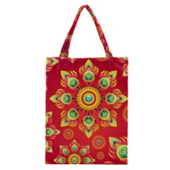 Red and Orange Floral Geometric Pattern Classic Tote Bag