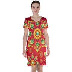 Red and Orange Floral Geometric Pattern Short Sleeve Nightdress