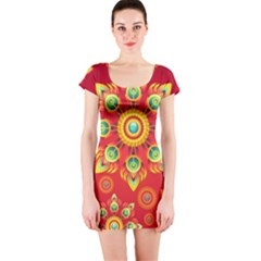 Red and Orange Floral Geometric Pattern Short Sleeve Bodycon Dress