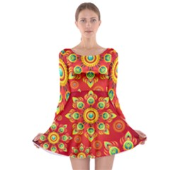 Red and Orange Floral Geometric Pattern Long Sleeve Skater Dress