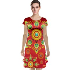 Red and Orange Floral Geometric Pattern Cap Sleeve Nightdress
