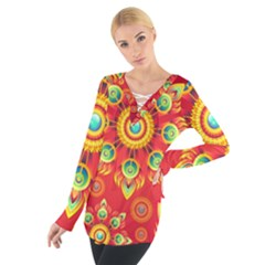 Red and Orange Floral Geometric Pattern Women s Tie Up Tee